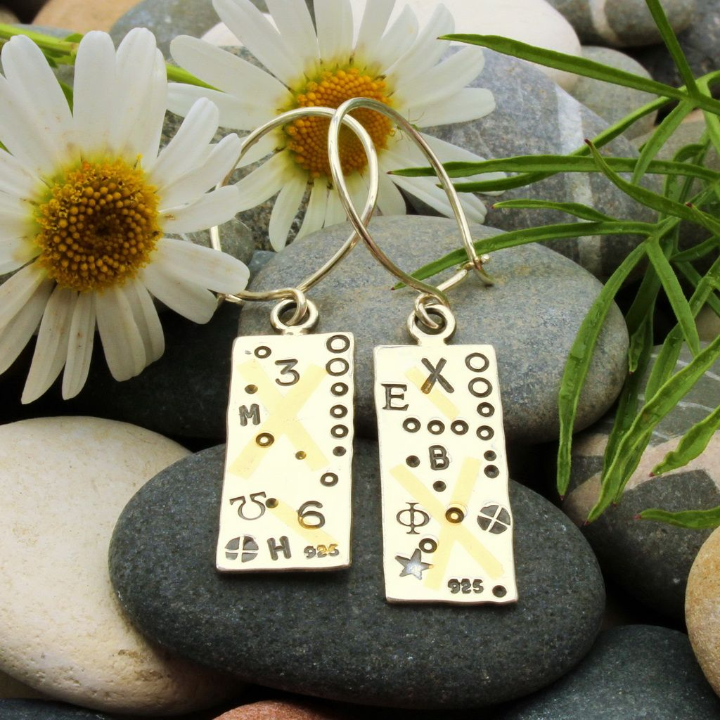 Silver and gold earrings contemporary Keum boo with cross and letters